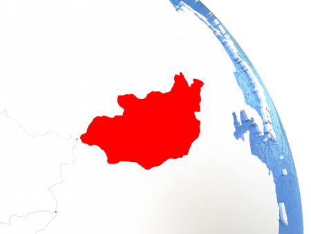 Mongolia highlighted in red on elegant silver globe with blue watery oceans. 3D illustration