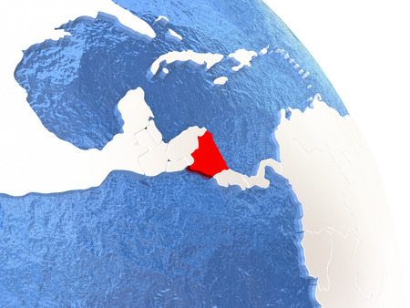 nicaragua: Nicaragua highlighted in red on elegant silver globe with blue watery oceans. 3D illustration