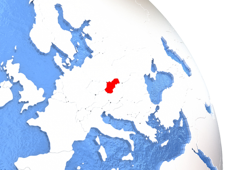 Slovakia highlighted in red on elegant silver globe with blue watery oceans. 3D illustration