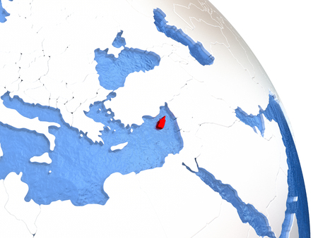 Cyprus highlighted in red on elegant silver globe with blue watery oceans. 3D illustration