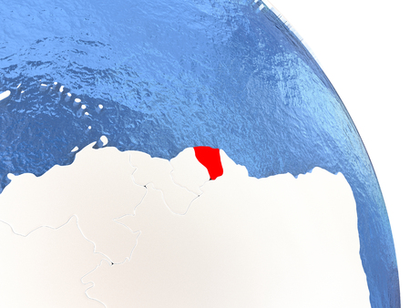 French Guiana highlighted in red on elegant silver globe with blue watery oceans. 3D illustration Stock Photo