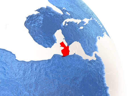Guatemala highlighted in red on elegant silver globe with blue watery oceans. 3D illustration Stock Photo
