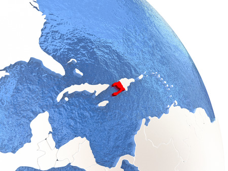 Haiti highlighted in red on elegant silver globe with blue watery oceans. 3D illustration