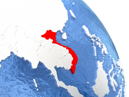 Vietnam highlighted in red on elegant silver globe with blue watery oceans. 3D illustration Stock Photo