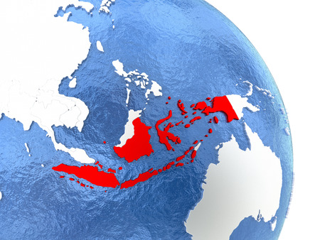 Indonesia highlighted in red on elegant silver globe with blue watery oceans. 3D illustration
