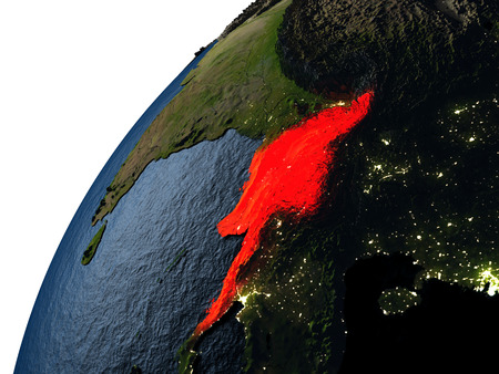 burmese: Myanmar highlighted in red on planet Earth with visible city lights. 3D illutration with detailed planet surface.