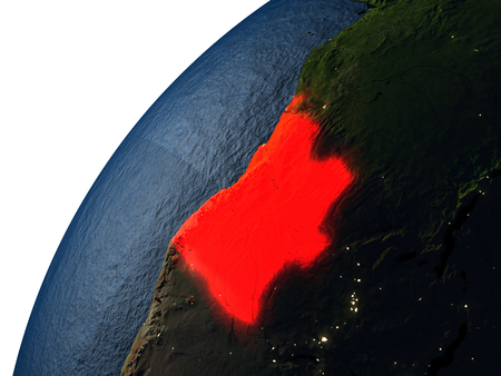 Angola highlighted in red on planet Earth with visible city lights. 3D illutration with detailed planet surface. Stock Photo
