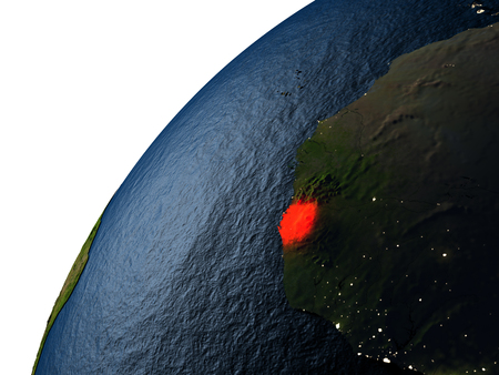 Sierra Leone highlighted in red on planet Earth with visible city lights. 3D illutration with detailed planet surface. Stock Photo