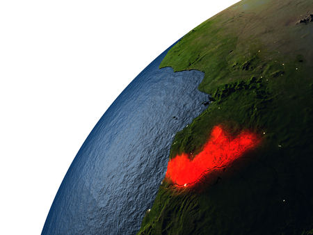 Congo highlighted in red on planet Earth with visible city lights. 3D illutration with detailed planet surface.