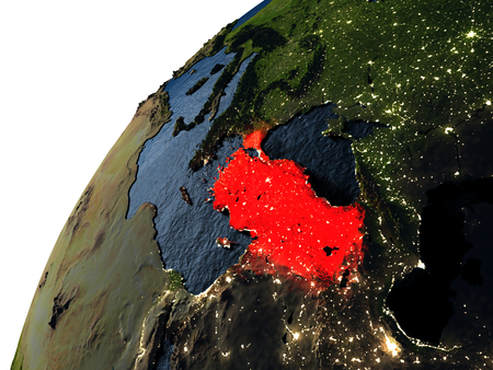 visible: Turkey highlighted in red on planet Earth with visible city lights. 3D illutration with detailed planet surface.