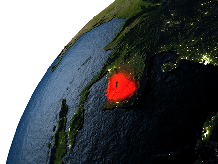 Cambodia highlighted in red on planet Earth with visible city lights. 3D illutration with detailed planet surface.