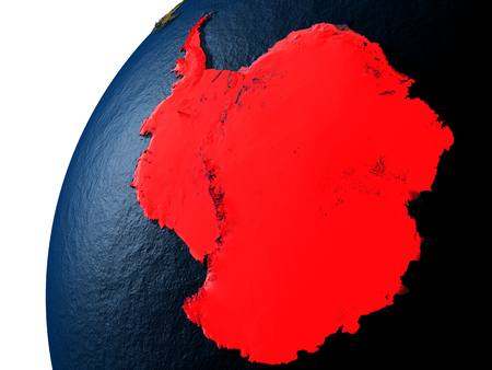 Antarctica highlighted in red on planet Earth with visible city lights. 3D illutration with detailed planet surface.