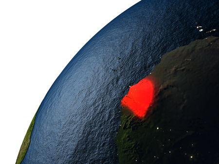 senegalese: Senegal highlighted in red on planet Earth with visible city lights. 3D illutration with detailed planet surface.