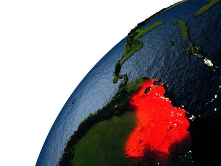 Venezuela destacó en rojo sobre el planeta Tierra con luces visibles de la ciudad. Illutration 3D con la superficie detallada del planeta.