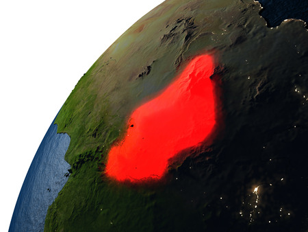 chadian: Chad highlighted in red on planet Earth with visible city lights. 3D illutration with detailed planet surface.