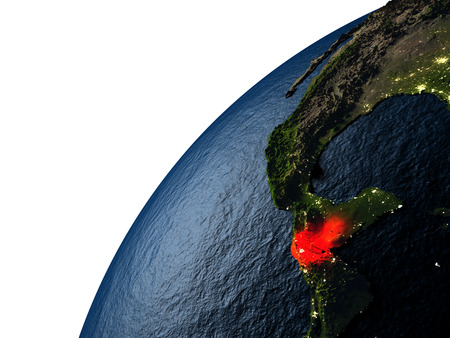 guatemalan: Guatemala highlighted in red on planet Earth with visible city lights. 3D illutration with detailed planet surface.