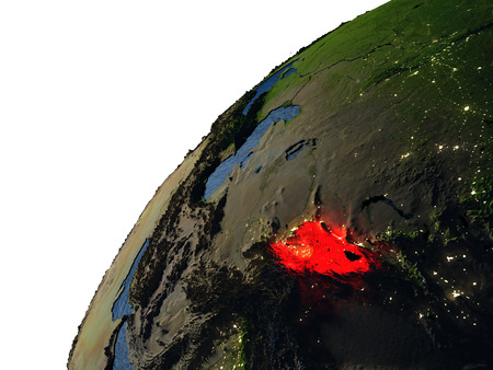 visible: Kyrgyzstan highlighted in red on planet Earth with visible city lights. 3D illutration with detailed planet surface. Stock Photo