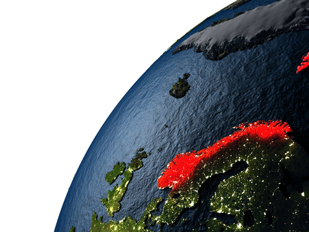 Norway highlighted in red on planet Earth with visible city lights. 3D illutration with detailed planet surface. Stock Photo