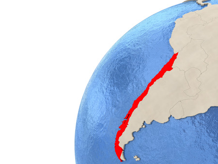 chilean: Map of Chile on simple political globe with watery blue oceans. 3D illustration