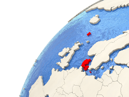 Map of Denmark on simple political globe with watery blue oceans. 3D illustration