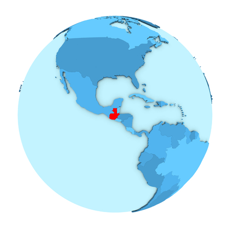 Guatemala in red on simple political globe with clearly visible country borders. 3D illustration isolated on white background. Stock Photo
