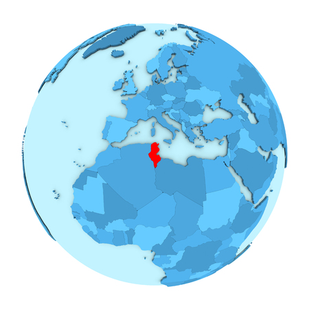 Tunisia in red on simple political globe with clearly visible country borders. 3D illustration isolated on white background.