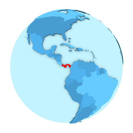 clearly: Panama in red on simple political globe with clearly visible country borders. 3D illustration isolated on white background. Stock Photo