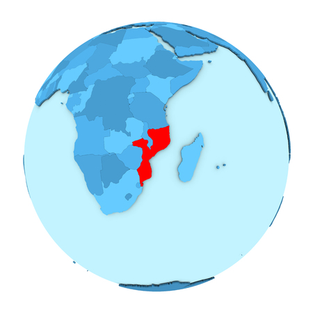 clearly: Mozambique in red on simple political globe with clearly visible country borders. 3D illustration isolated on white background.
