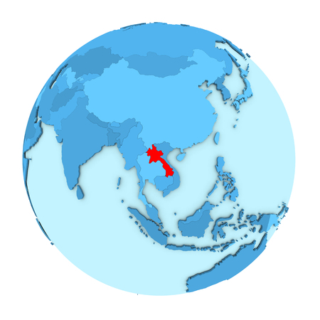 clearly: Laos in red on simple political globe with clearly visible country borders. 3D illustration isolated on white background.