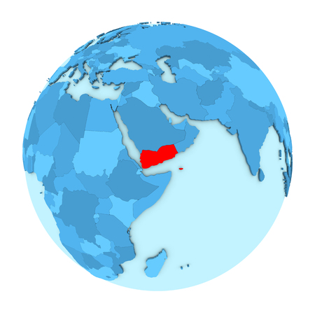 yemen: Yemen in red on simple political globe with clearly visible country borders. 3D illustration isolated on white background. Stock Photo