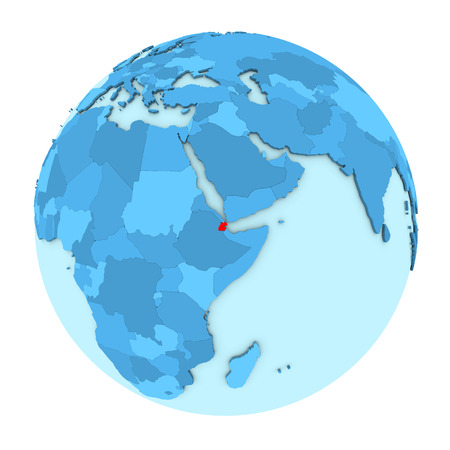 Djibouti in red on simple political globe with clearly visible country borders. 3D illustration isolated on white background.