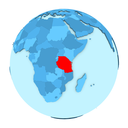 clearly: Tanzania in red on simple political globe with clearly visible country borders. 3D illustration isolated on white background. Stock Photo