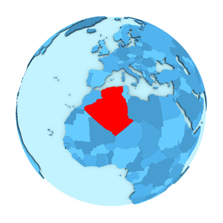 clearly: Algeria in red on simple political globe with clearly visible country borders. 3D illustration isolated on white background.