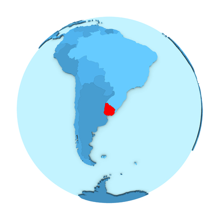 Uruguay in red on simple political globe with clearly visible country borders. 3D illustration isolated on white background.
