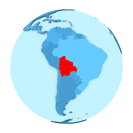 map bolivia: Bolivia in red on simple political globe with clearly visible country borders. 3D illustration isolated on white background. Foto de archivo