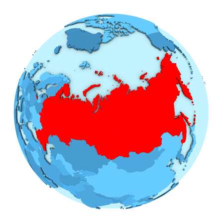 clearly: Russia in red on simple political globe with clearly visible country borders. 3D illustration isolated on white background.