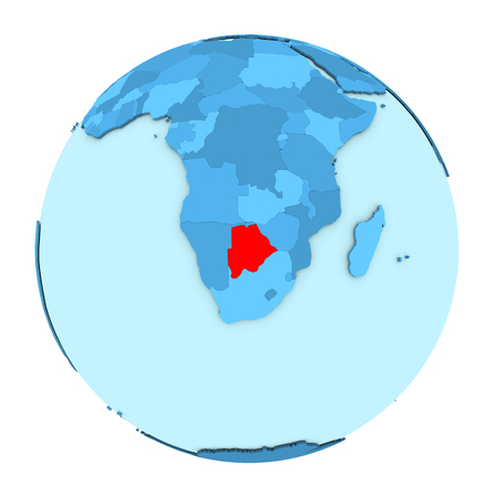 clearly: Botswana in red on simple political globe with clearly visible country borders. 3D illustration isolated on white background. Stock Photo