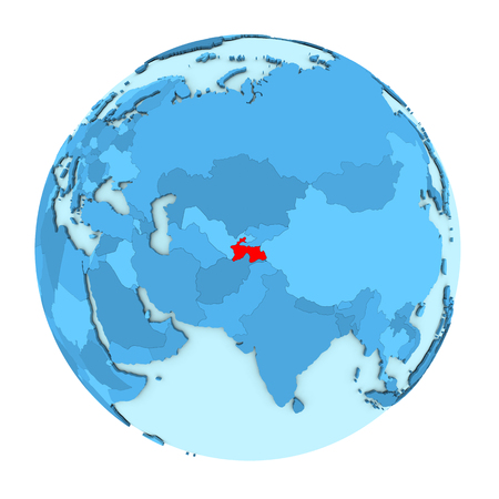 clearly: Tajikistan in red on simple political globe with clearly visible country borders. 3D illustration isolated on white background.
