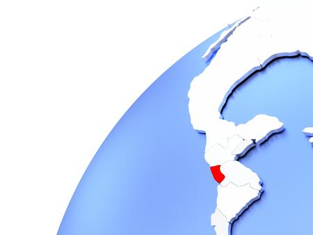 Map of El Salvador in red on elegant modern metallic globe. 3D illustration Stock Photo