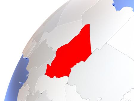 chadian: Map of Chad in red on elegant modern metallic globe. 3D illustration