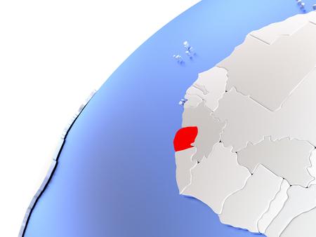 Map of Sierra Leone in red on elegant modern metallic globe. 3D illustration Stock Photo