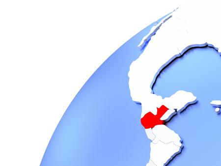 guatemalan: Map of Guatemala in red on elegant modern metallic globe. 3D illustration