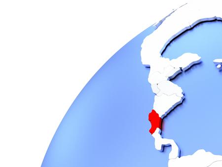 Map of Costa Rica in red on elegant modern metallic globe. 3D illustration