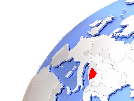 Map of Bosnia in red on elegant modern metallic globe. 3D illustration