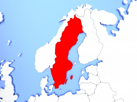 Map of Sweden highlighted in red on simple shiny metallic map with clear country borders. 3D illustration