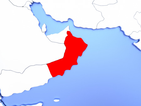 Map of Oman highlighted in red on simple shiny metallic map with clear country borders. 3D illustration