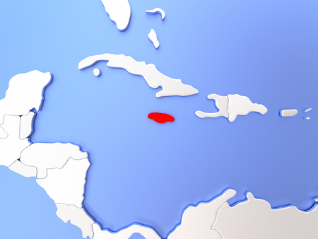 jamaican: Map of Jamaica highlighted in red on simple shiny metallic map with clear country borders. 3D illustration