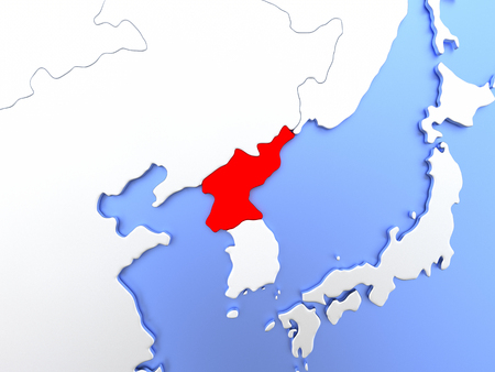 Map of North Korea highlighted in red on simple shiny metallic map with clear country borders. 3D illustration