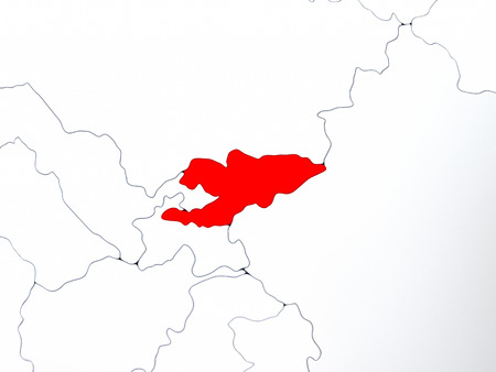 kyrgyzstan: Map of Kyrgyzstan highlighted in red on simple shiny metallic map with clear country borders. 3D illustration
