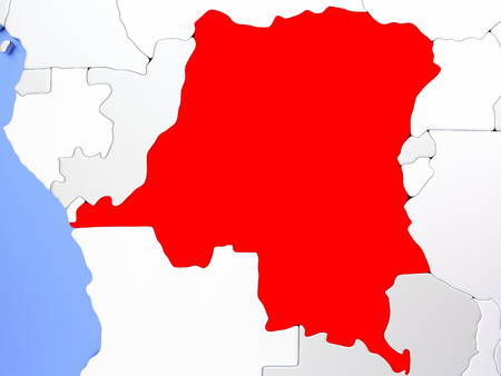 Map of Democratic Republic of Congo highlighted in red on simple shiny metallic map with clear country borders. 3D illustration